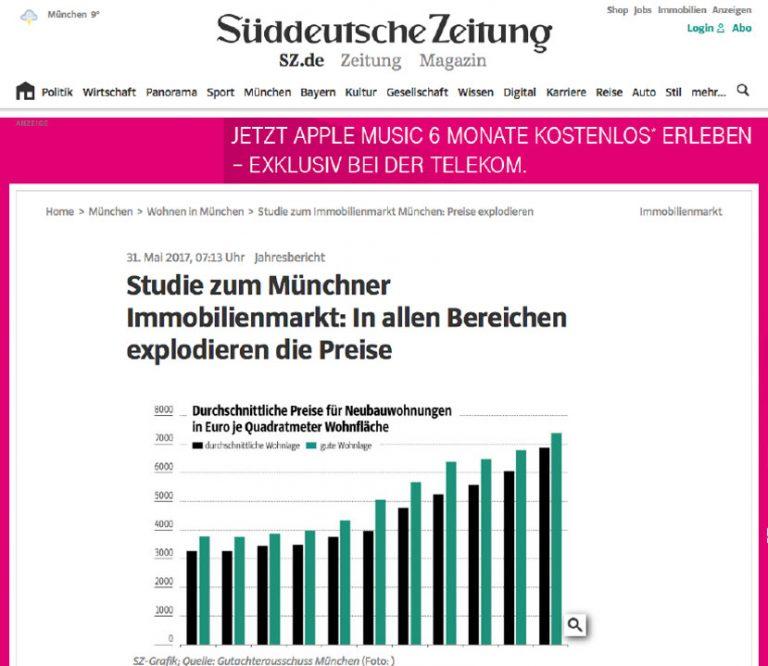 Artikel in der Süddeutschen zum Münchner Immobilienmarkt