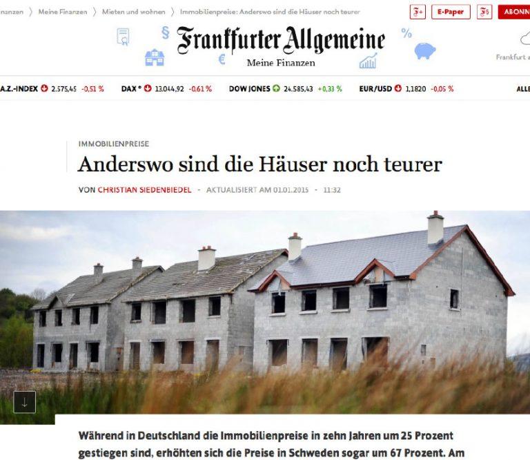 Artikel in der Frankfurter Allgemeine zu steigenden Immobilienpreisen